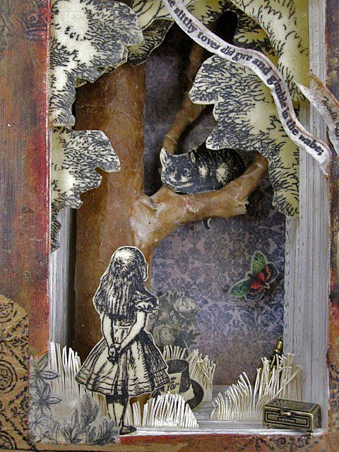 Altered book based on  Lewis Carrol's Alice in Wonderland