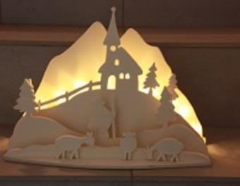 Schwibbogen Weihnachten in den Bergen Sperrholz,Laubsäge,Dekupiersäge,Weihnachtsdekoration,LED-Beleuchtung,Schwibbogen