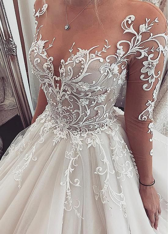235 50 Chic Tulle Jewel Neckline Ball Gown Wedding Dresses With Lace Appliques Beadings Magbridal Com Cn Tulle Wedding Dress Wedding Dresses Ball Gowns Wedding