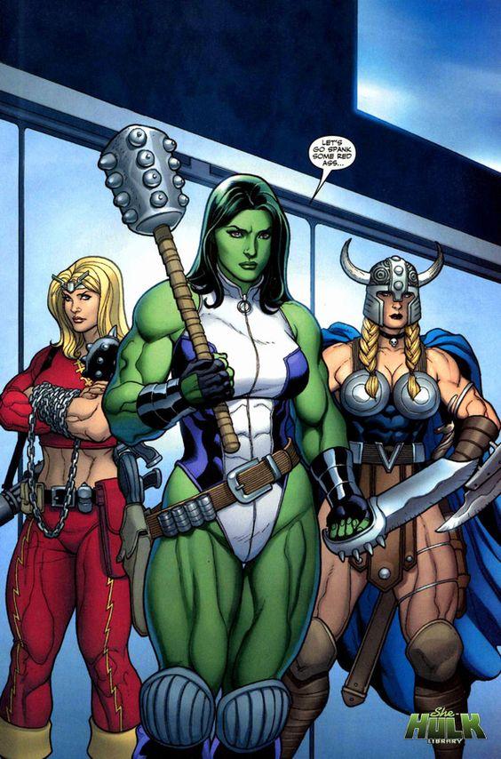 She-Hulk, Thundra & Valkyrie - Frank Cho