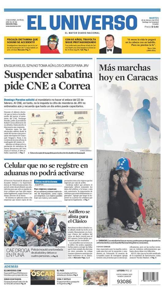 Portada de #DiarioELUNIVERSO del martes 18 de febrero del 2014. Las #noticias de #Ecuador y el mundo en: www.eluniverso.com