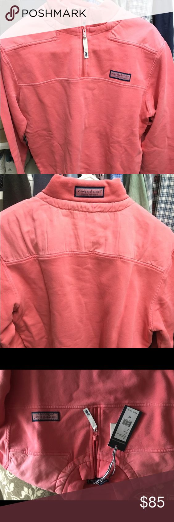 Shep shirt. Never worn with tags. It's men but women can totally wear it since the color is salmon Vineyard Vines Tops Sweatshirts & Hoodies