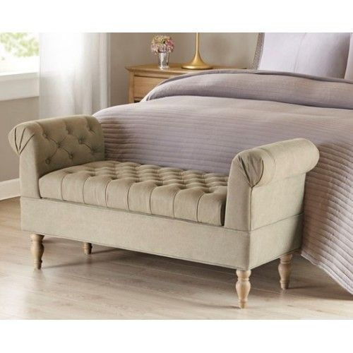 Beige Tufted Rolled Arm Bench Upholstered Storage Bench Accent