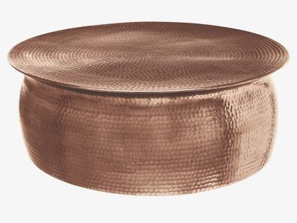 ORRICO NATURAL Metal Rose gold hammered aluminium coffee table -                 HabitatUK