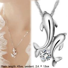 Silver plated Double Dolphin Rhinestone Short Chain Pendant Necklace Jewelry: