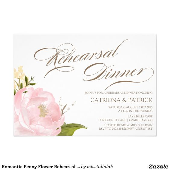 Romantic Peony Flower Rehearsal Dinner Invitation