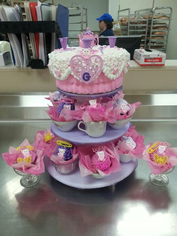 Tea party cake and cupcakes