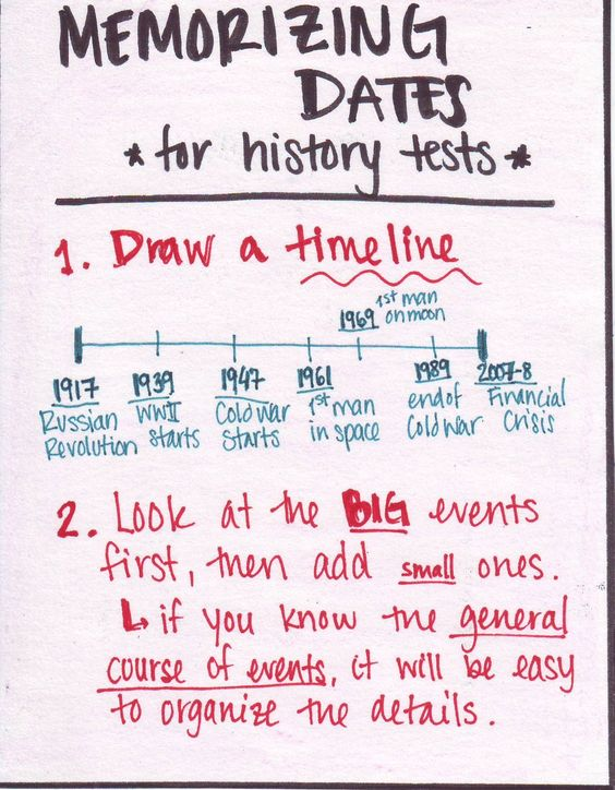 Memorizing dates for history tests Someone sent... | Study-Hack