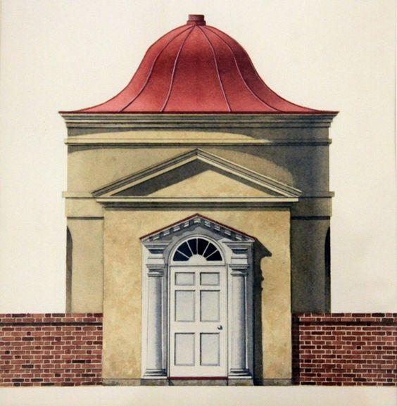Garden Pavilion- Joseph Manigault House - Charleston, South Carolina / Michael Hampton / watercolor on paper / Art Size: 7.5 x 8.75; Frame Size: 16 x 17.5