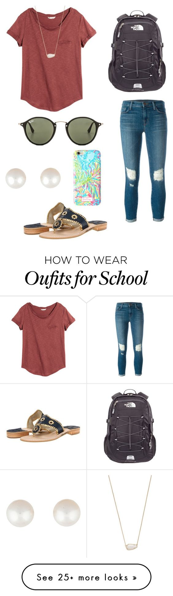 """2 more days of school"" by becker17 on Polyvore featuring J Brand, H&M, The North Face, Ray-Ban, Jack Rogers, Kendra Scott, Lilly Pulitzer and Tiffany & Co."