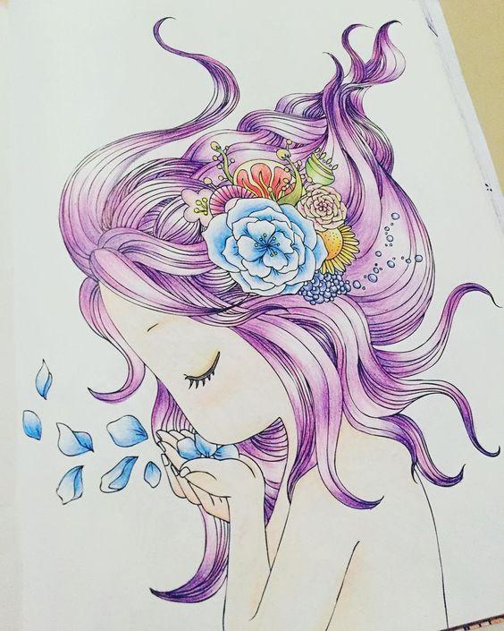 #컬러링북 #쏠쏘라와떠나는마법의동화여행  역시 소녀소녀한 그림이 나랑 딱!! 후다닥 두시간만에 완성^^