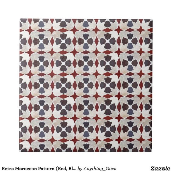 Retro Moroccan Pattern (Red, Blue, Beige) Small Square Tile