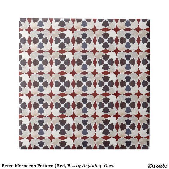 Retro Moroccan Pattern (Red, Blue, Beige) Small Square Tile