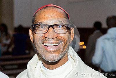 CAPE VERDE, PRAIA, ABRIL - 29: Dom Arlindo Furtado (right), first cardinal of Cape Verde, a religious ceremony,