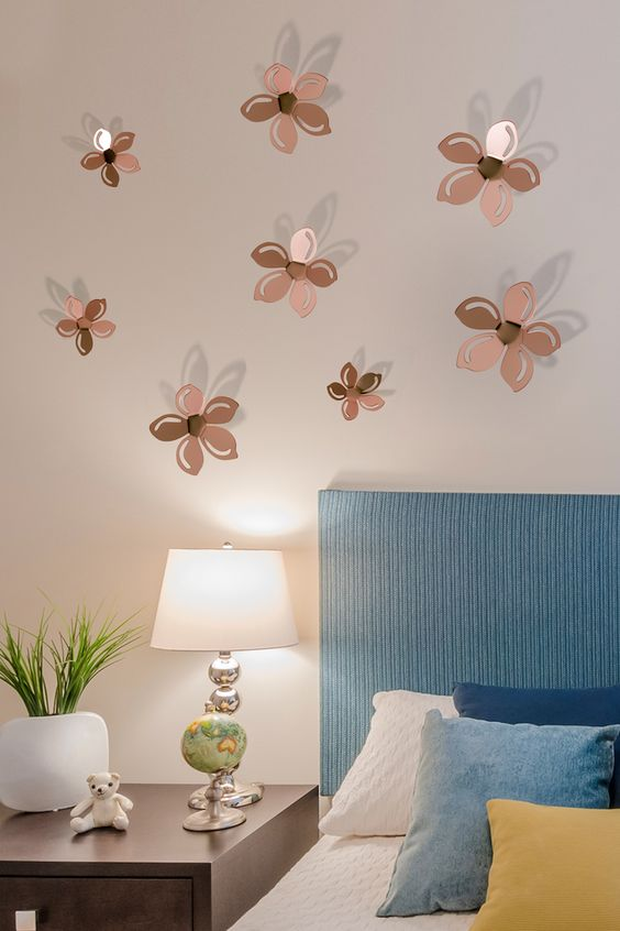 Flores 3d para pegar en las paredes insp rate y decora tu hogar pinterest d 3d and chocolate - Pegar vinilo en pared ...