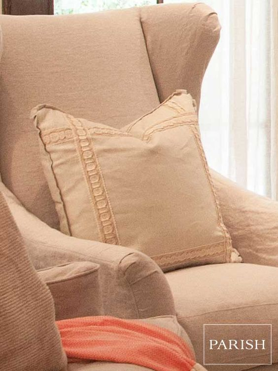 Washable Slipcovered Oatmeal Oasis Chair: $2448, Mint Braid Pillow: $195