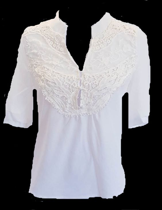 NWOT LADIES/WOMEN IVORY RETRO LACE BLOUSE MID SLEEVE SHIRT SIZE SMALL #Unbranded #Blouse #Casual