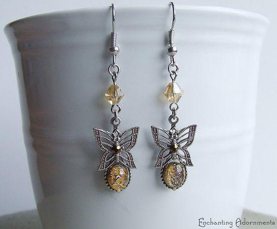 Victorian Butterflies Golden Vintage Filigree Earrings