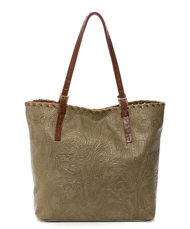 This Olive Tooled Leather Tote is perfect! #zulilyfinds