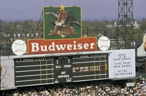 Scoreboard at Sportsman's Park during 1964 World Series. 15 October 1964.