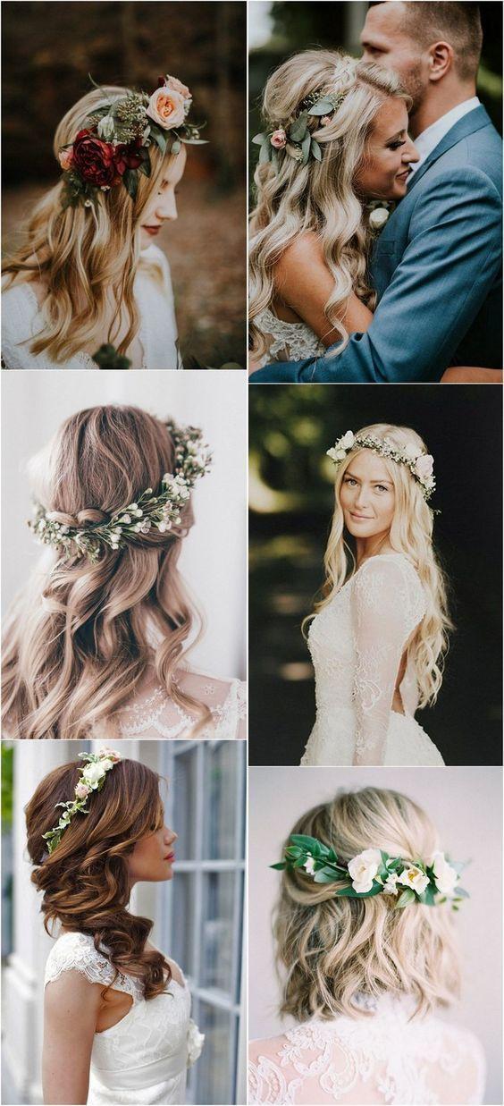 Top 10 Wedding Hairstyles With Flower Crown Veil For 2018 In 2020 Flower Crown Hairstyle Wedding Hair Flowers Wedding Hairstyles With Crown