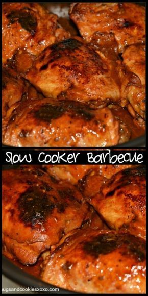 Slow Cooker BBQ Chicken. I package of chicken thighs (I used 6 lbs) and a bottle of Stubbs for 6-7 hours on low in the crockpot. Broiled for 8 mins. Really moist and flavorful!
