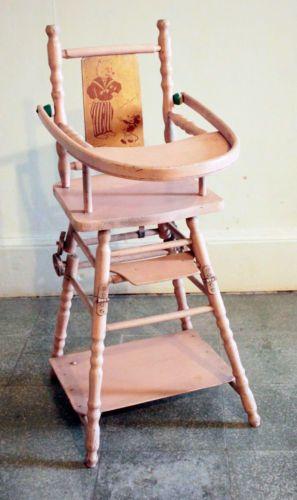 Chaise poupée en bois peinture rose d\u0027origine motif mickey old doll - peinture bois et fer