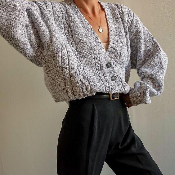 Goodshop Badshop Vintage pebble gray 100% cotton thick knit cropped cardigan,
