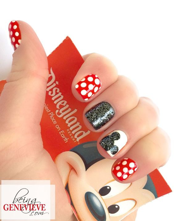 Magical Mickey | Being Genevieve Step-by-step tutorial on how to create this cute disney nail art design. Come see how to make the Mickey silhouette sparkle. . .: