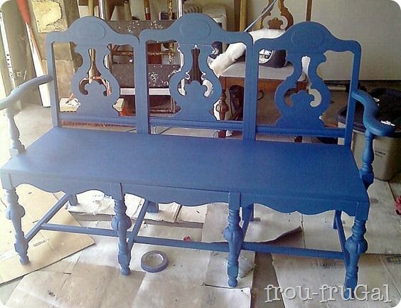 Blue bench from chairs
