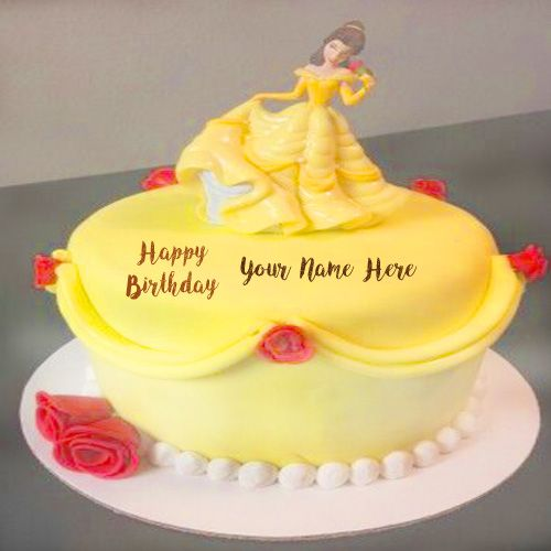Latest Princess Doll Happy Birthday Cake With Name Image Write My