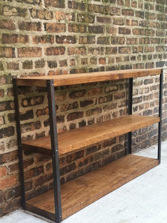 industriel r cup r bois biblioth que tag re. Black Bedroom Furniture Sets. Home Design Ideas