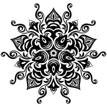 indian mandala: Kaleidoscopic floral pattern  Mandala in black and white Illustration