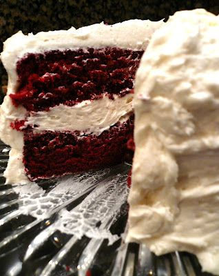 Its the original Red Velvet Cake - none of that cream cheese frosting  or buttercream nonsense. This is the real thing. (M: This recipe really does look like the one I used to ask for for my birthday; Moms recipe book called it Waldorf Astoria cake.)