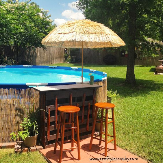 Swim swimming and diy and crafts on pinterest for Above ground pool decks made from pallets