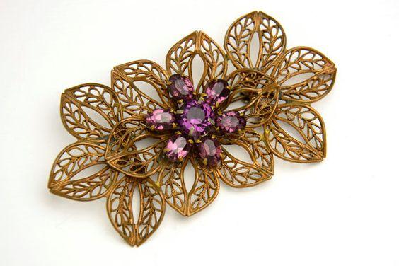Vintage Brooch  Purple Rhinestones Brass by VintageCravens on Etsy