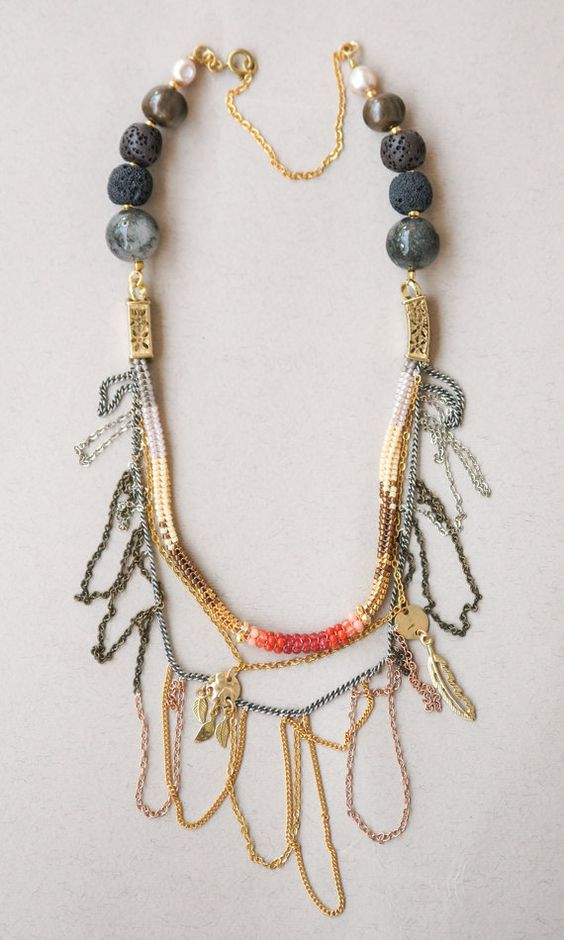 multi layered necklace chain beaded necklace