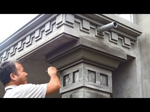 Amazing Techniques Rendering Sand And Cement To Concrete Columns Building Houses Step By Step Youtube Cement Design Compound Wall Design Concrete Column