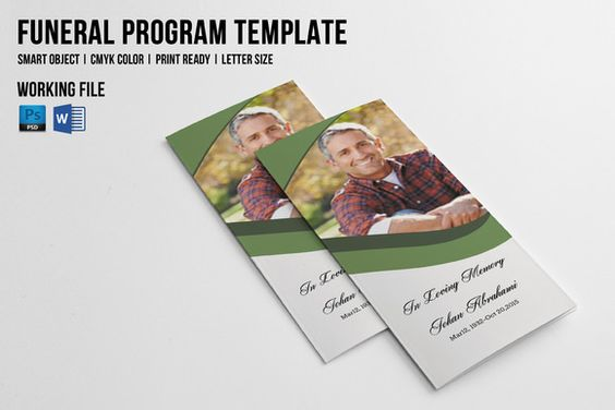 Trifold Funeral Brochure-V542 by Template Shop on @creativemarket - funeral brochure template