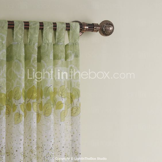 (Two Panels) Green Leaf Country Sheer Curtain 2015 – $63.93