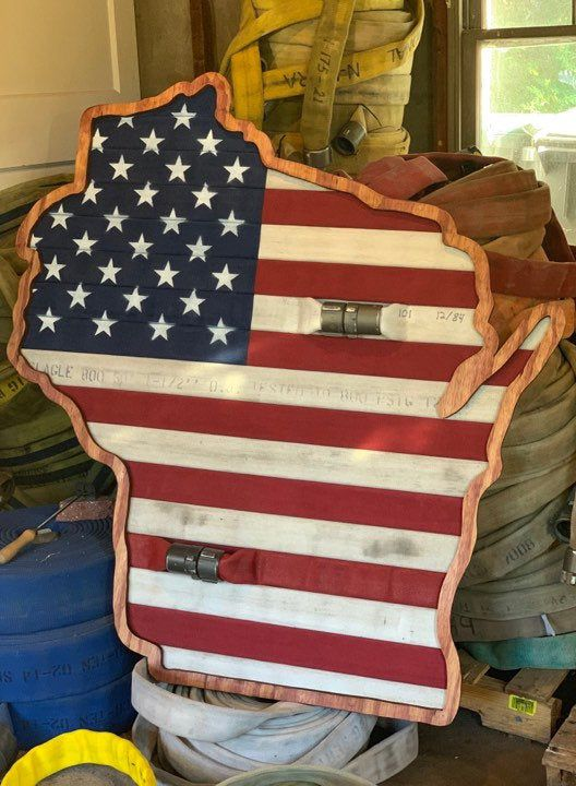 State Shaped Fire Hose American Flag Show Your Pride For Etsy In 2020 Firefighter Gifts Firemen Gifts Fire Hose