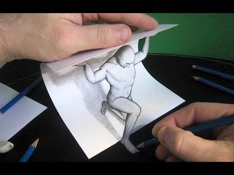 3d Trick Art How To Draw A Man Cool And Easy Draw 3d Art On Paper Youtube 3d Drawings 3d Pencil Art 3d Paper Art