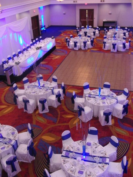white and cobalt blue wedding reception   Our wedding reception, Ottawa Marriott hotel - cobalt blue and white