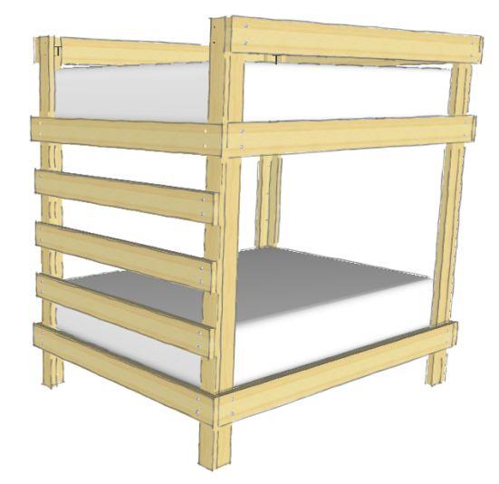 diy full over full bunk bed cabin pinterest bunk. Black Bedroom Furniture Sets. Home Design Ideas