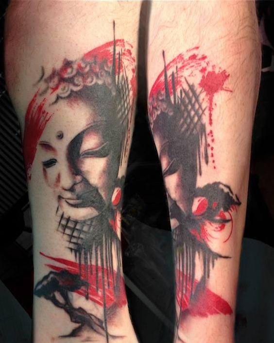 Buddha trash polka Tattoo done by Angela Grace at Damask Tattoo in Seattle, WA …