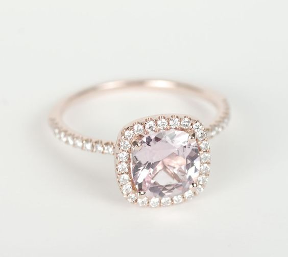 *** Unbeatable deals on stunning jewelry at http://jewelrydealsnow.com/?a=jewelry_deals *** Certified Peach Pink Cushion Sapphire Diamond Halo Engagement Ring 14K Rose Gold
