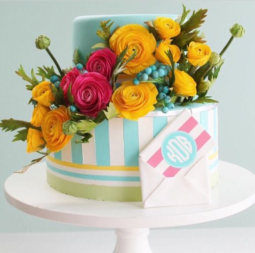Cake by Alex Narramore | Mischief Maker Cakes Blog - Bright and colorful monogrammed sugar flower cake. #mischiefmakercakes