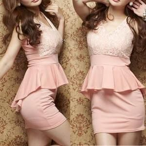 Sexy lace stitching dress A..