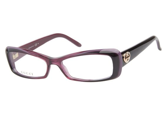 Gucci GG3516 WOL Cherry Bordeaux eyeglasses have a modernized rectangular design. The angle of the lenses gives this style a subtle cateye shape. The semi-transparent dark cherry center extends outwar from @CoastalDotCom