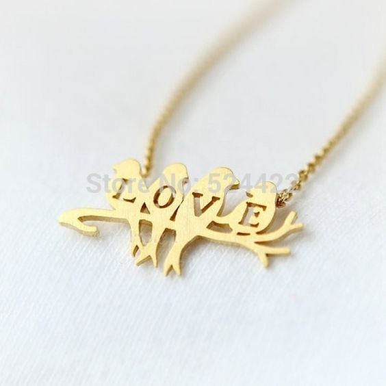 Birds Spell L-O-V-E Necklace in Gold or SilverBird Jewelry